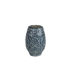 Round Blue and Ivory Decorative Ceramic Vase
