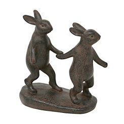 Rustic Bunnies Holding Hands Shelf Figurine