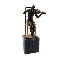 Black and Gold Violin Player on Base Figurine
