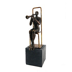 Black and Gold Clarinet Player on Base Figurine