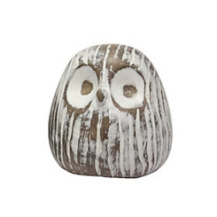 White Owl Face Sculpture, 3.25 in.