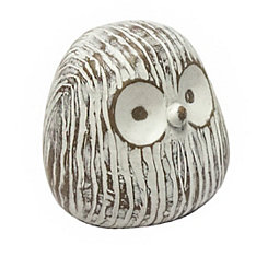 White Owl Face Sculpture, 4.5 in.