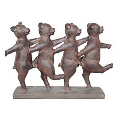 Rusted Dancing Pigs Figurine