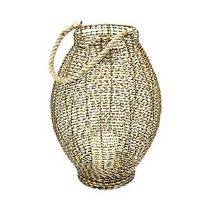 Gold Woven Metal Lantern with Flameless Candle