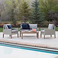 Eucalyptus and Rattan 4-pc. Outdoor Chat Set