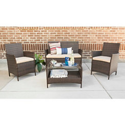 Simple Brown Rattan 4-pc. Chat Set