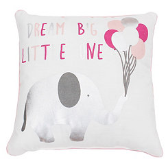 Pink Dream Big Elephant Pillow