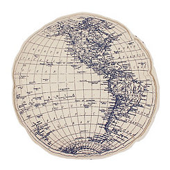 Navy Globe Round Pillow
