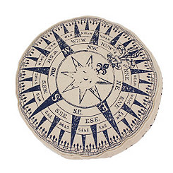 Navy Compass Pillow