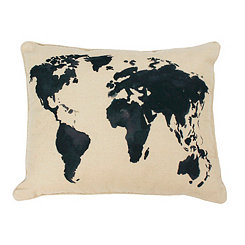 Blue World Map Pillow