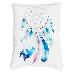 Blue Feather Dream Catcher Pillow