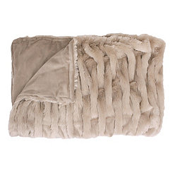 Tan Basketweave Faux Fur Throw