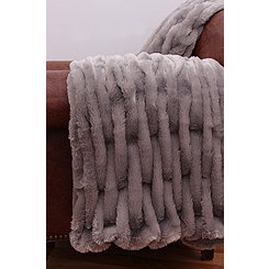 Gray Basketweave Faux Fur Throw