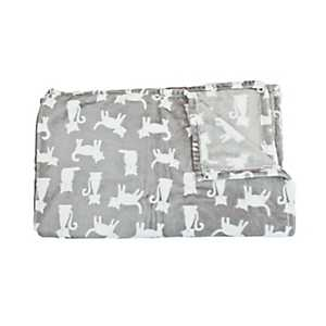 Silver Silhouette Printed Cat Fleece Pet Throw