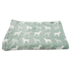 Green Dog Silhouette with Chevron Fleece Pet Throw