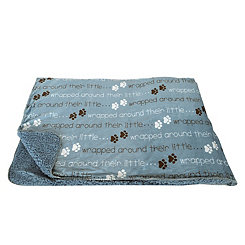 Blue Mocromink Paws Phrase Pet Throw