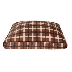 Chunky Plaid Brown Printed Fleece Pet Bed