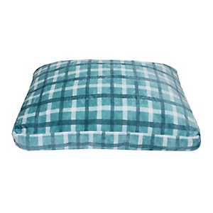 Chunky Plaid Blue Printed Fleece Pet Bed