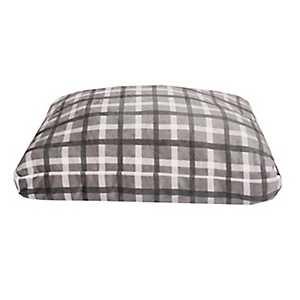 Chunky Plaid Gray Printed Fleece Pet Bed