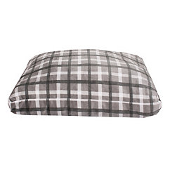 Chunky Plaid Gray Printed Fleece Pet Bed