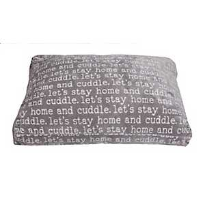 Cuddle Words Gray Printed Flannel Fleece Pet Bed