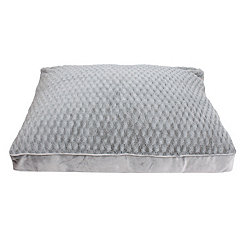 Brushed Silver Faux Fur Pet Bed