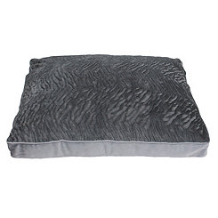 Brushed Gray Faux Fur Pet Bed