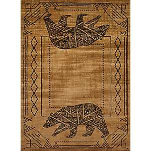 Tan Geometric Grizzly Area Rug, 5x7