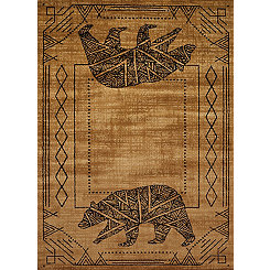 Tan Geometric Grizzly Area Rug, 8x11