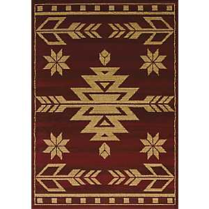 Red Geometric Area Rug, 5x7