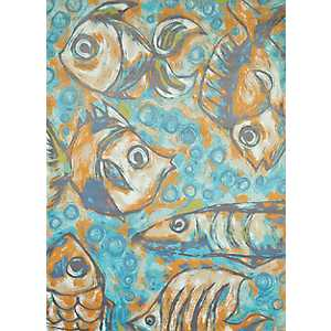 Blue Coastal Reef Area Rug, 5x7