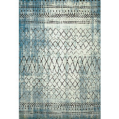 Blue Distressed Diamond Area Rug, 5x7