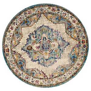 Kennedy Floral Round Area Rug, 8 ft.