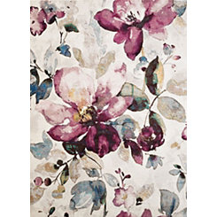Purple Floral Area Rug, 5x7