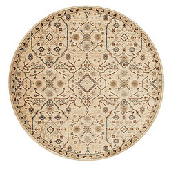 Ivory Archer Floral Round Area Rug, 8 ft.