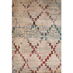 Distressed Geometric Diamond Area Rug, 5x7