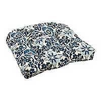 Navy Woodblock Outdoor Seat Cushion