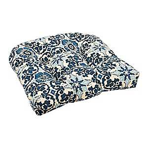 Navy Woodblock Outdoor Seat Cushion