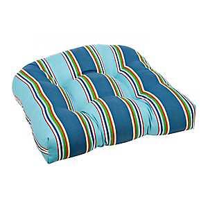 Blue Stripe Outdoor Seat Cushion