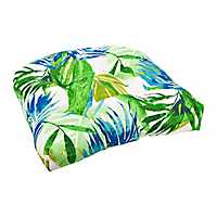 Blue and Green Floral Outdoor Seat Cushion