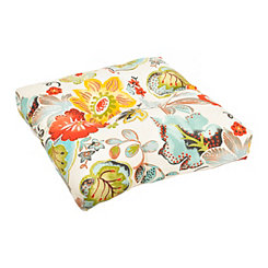 Ivory Floral Outdoor Ottoman Cushion