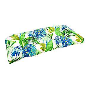 Blue and Green Floral Settee Cushion