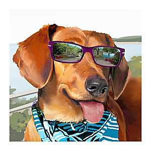 Bark Along Weenie Canvas Art Print
