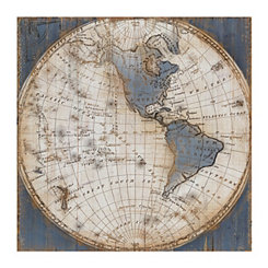 Blue World Map Canvas Art Print