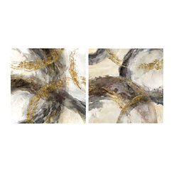 Gold and Charcoal Canvas Art Prints, Set of 2