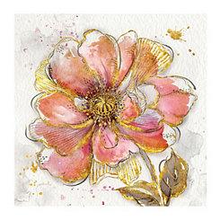 Gold Blush Aqua Blooms Canvas Art Prints, Set of 2