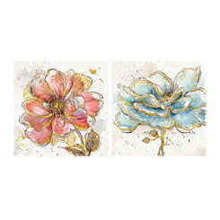 Gold Blush Aqua Blooms Canvas Art Prints, Set of 2