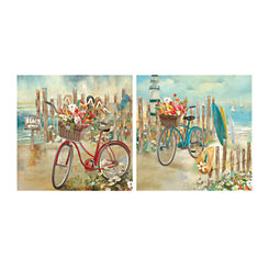 Beach Bound Bikes Canvas Art Prints, Set of 2