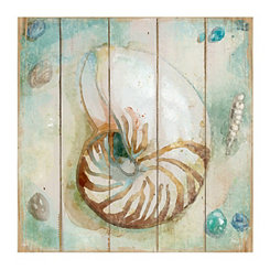 Shiplap Shells Canvas Art Prints, Set of 2