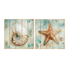 Shiplap Shells Canvas Art Prints, Set of 2